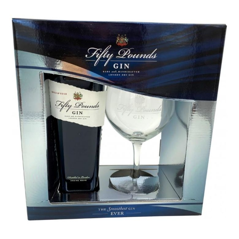 Immagine di GIN FIFTY POUNDS -70CL - GIFT BOX: CONTAINS 1 BOTTLE + GLASS