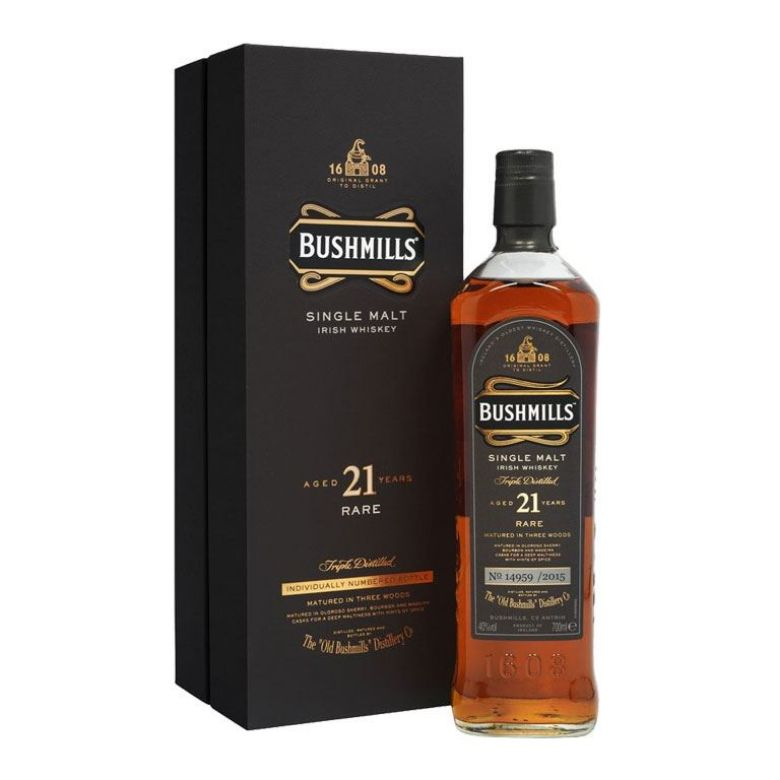 Immagine di WHISKY BUSHMILLS AGED 21 YEARS RARE-70CL - SINGLE MALT - INDIVIDUALLY NUMBER BOTTLE
